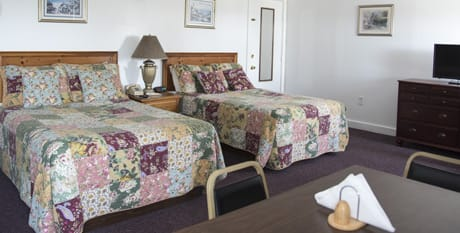 room with two beds and kitchen located in acadia national park