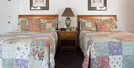 two double beds with fold out for lodging in acadia national park